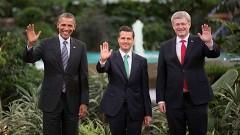 Los presidentes de Estados Unidos, Barack Obama; de México, Enrique Peña Nieto, y el primer ministro de Canadá, Stephen Harper, durante la Cumbre de Líderes de América del Norte.