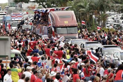 La selección de futbol de Costa Rica llegó hasta los cuartos de final, donde fue vencida por Holanda en la tanda de penales.