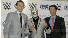 """Durante la conferencia de prensa estuvo el superestrella """"Sin Cara"""", quien se une a la campaña para refrendar su presencia regional en un medio masivo, con el alcance y prestigio de FOX Sports, en la que la WWE mantiene la estrategia de involucrar a sus fanáticos a través de sus plataformas digitales. (Foto: Asael Grande)."""
