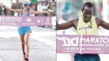 La mexicana Dulce María Rodríguez y el keniano Hillary Kimaiyo, al cruzar la meta del Maratón Internacional de Guadalajara.