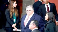 El gobernador del Banco de México, Agustín Carstens Carstens, acudió a la presentación de la nueva estrategia para fortalecer el estado de Derecho del presidente Enrique Peña Nieto en Palacio Nacional.
