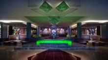 El lobby del hotel, en Cancún.