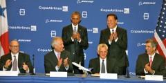 Barack Obama, Juan Carlos Varela, David Joyce, Jim McNerney, Stanley Motta y Pedro Heilbron.