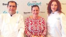 El chef Gabriel Jiménez, Stefanía Ballotta y la chef Teresa Ramírez.